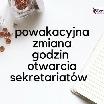 Aktualizacja godzin pracy sekretariatów